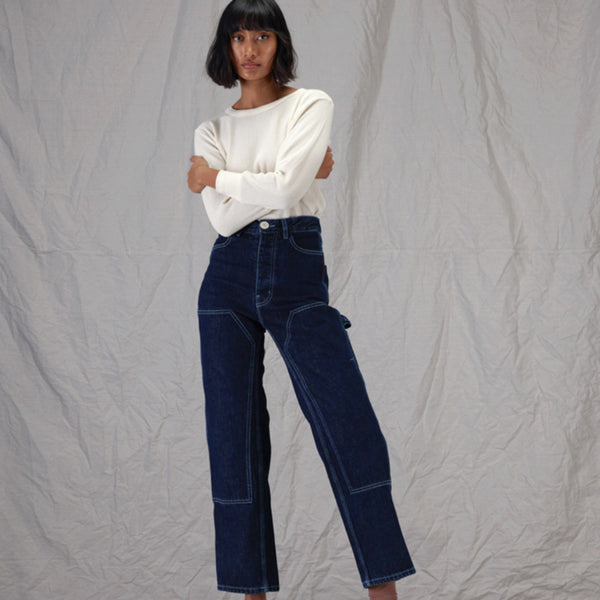 Patchwork Handy Pants - Dark Blue