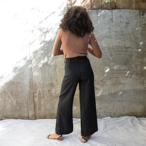 Sailor Pant - Black Linen