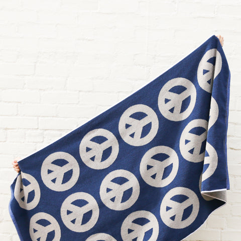 Peace Towel - Navy/Smoke