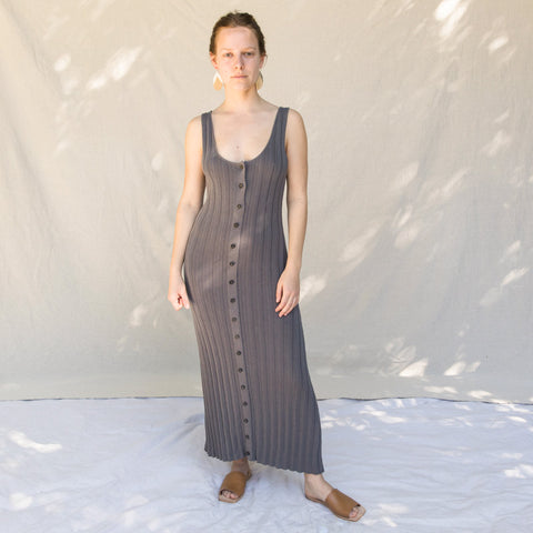 Accordian Pleat Dress - Smoke