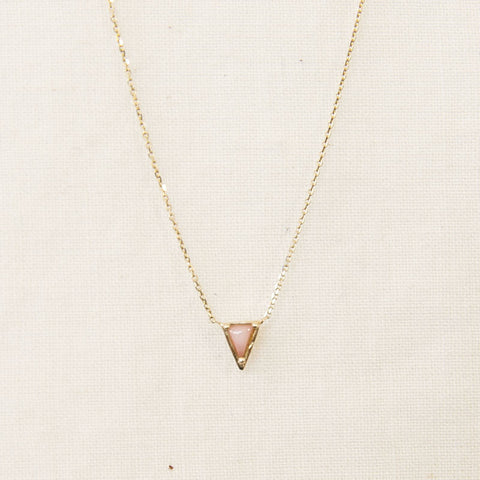 Pink Opal Triangle Necklace