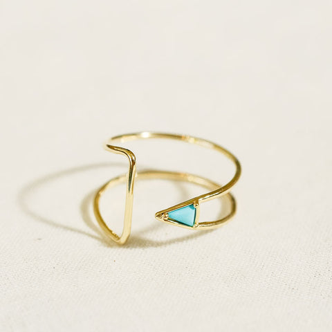 Curved Turquoise Triangle Ring