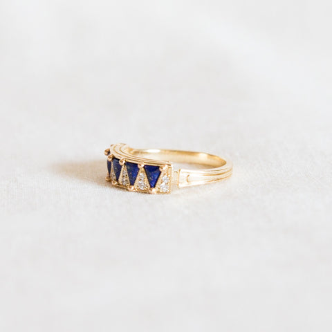 Lapis and Diamond Ring