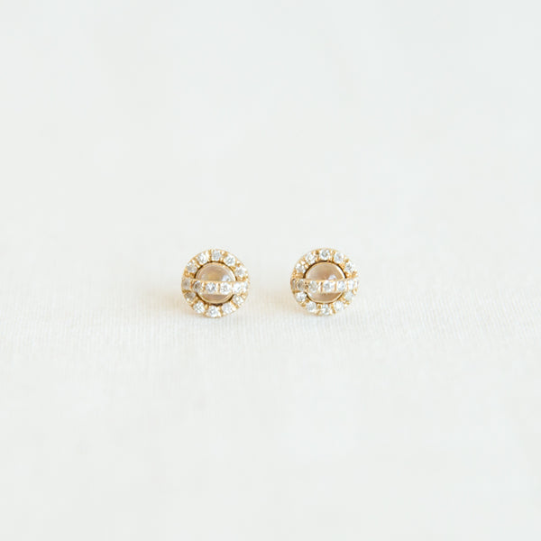 Diamond & Moonstone Studs