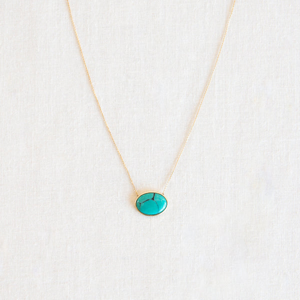 Supernova Oval Necklace - Turquoise