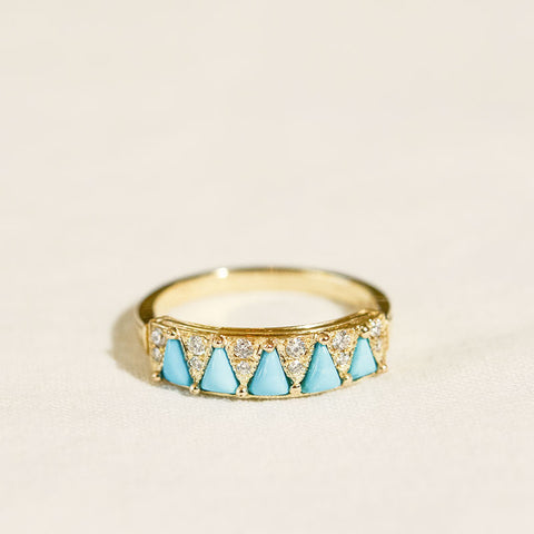 Five Triangle Turquoise Ring