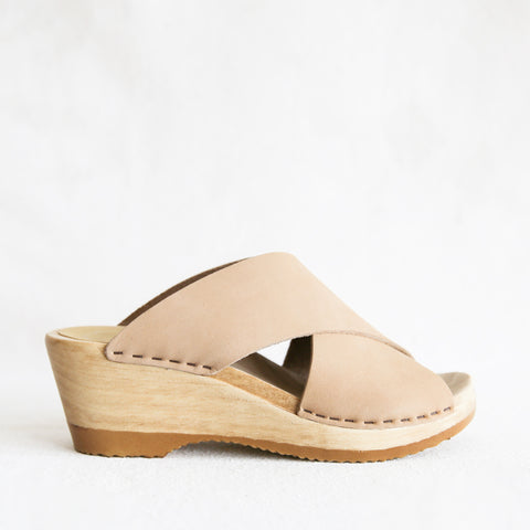 Frida Clog Mid Wedge - Bone