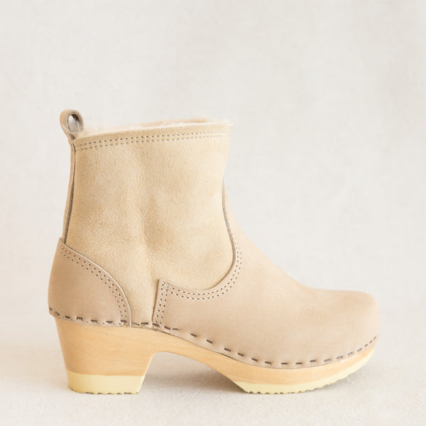 Pull On Shearling Boot - Bone Suede
