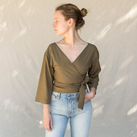 Reversible Cross Top - Olive