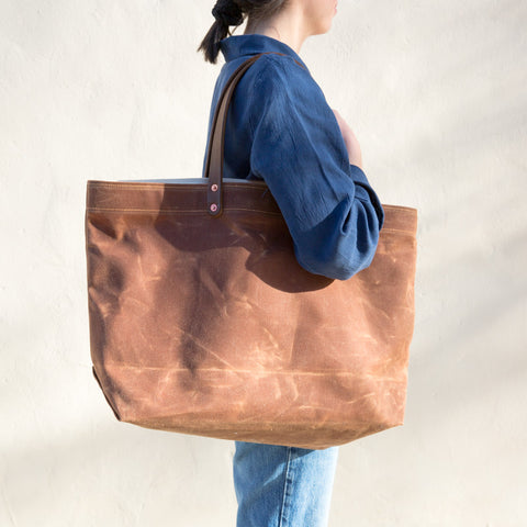 Waxed Canvas Tote - Brush Brown