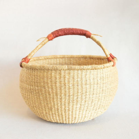 Traditional Bolga Basket with Leather Handle