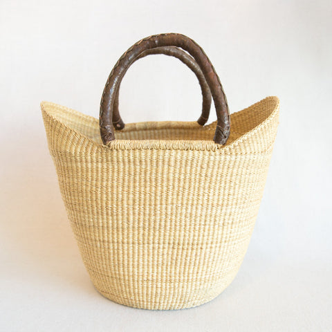 Straw Shopper Basket - Brown