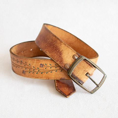 Floral Leather Belt