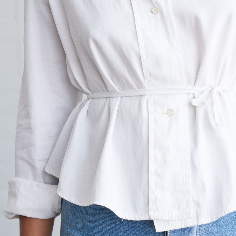 Cropped White Button Up