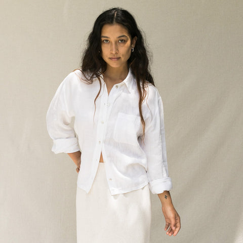 White Linen Button Up