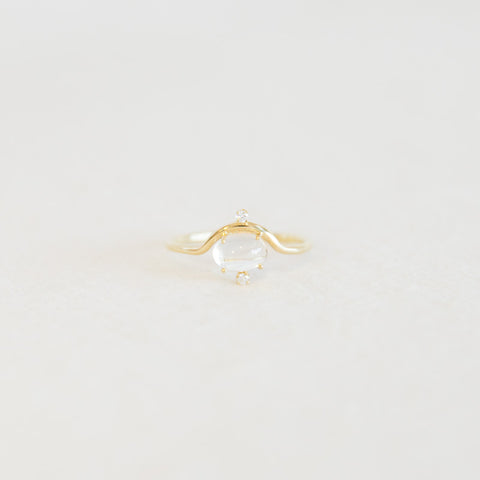 Nestled Moonstone & Diamond Ring