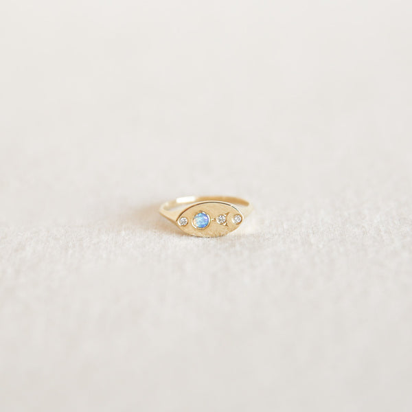 Signet Ring - Opal + Diamonds