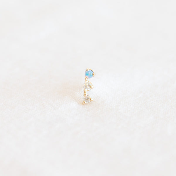 Three Step Earring - Diamonds and Opal