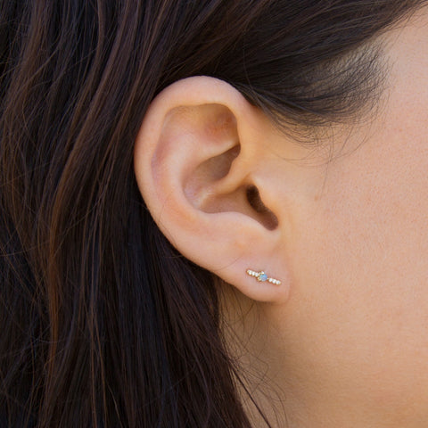 Level Earrings - Opal + White Diamonds