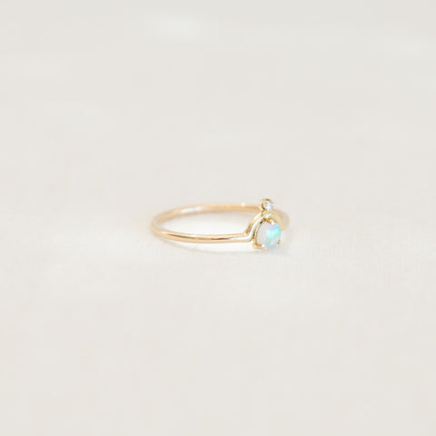 Nestled Opal + Diamond Ring