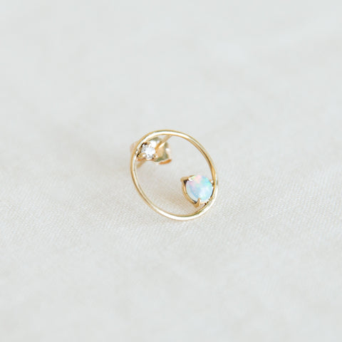 Opal & Diamond Circle Earring