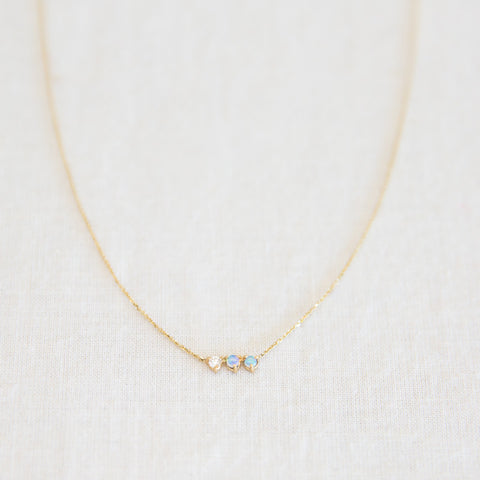 Three Points Necklace - Opals & Diamonds