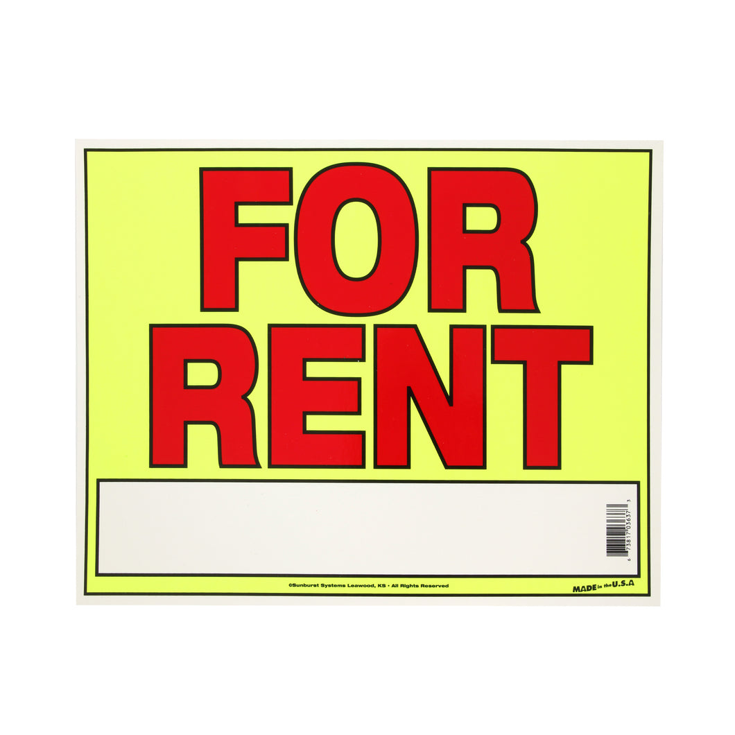 "11"" x 14"" For Rent Sign"