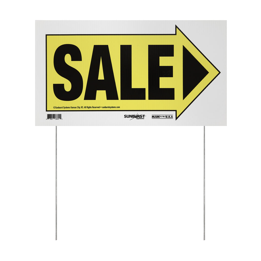 "10"" x 18"" Sale Arrow Sign with Stakes"