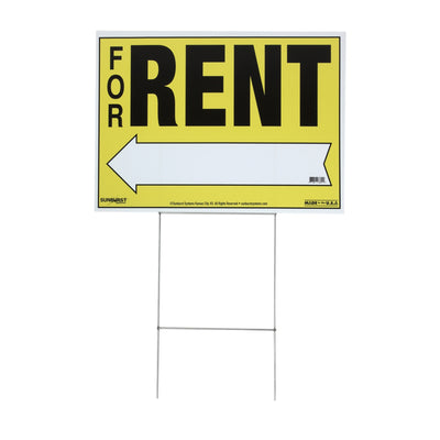 "22"" x 32"" Corr Plastic For Rent Sign with Stakes"