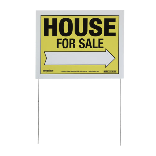 "14"" x 18"" Corr Plastic House For Sale Sign with Stakes"