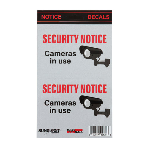"5"" x 8.5"" Security Notice Decals - Camera in Use."