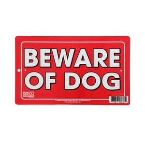 "6"" x 10"" Plastic Beware of Dog Sign (Red)"