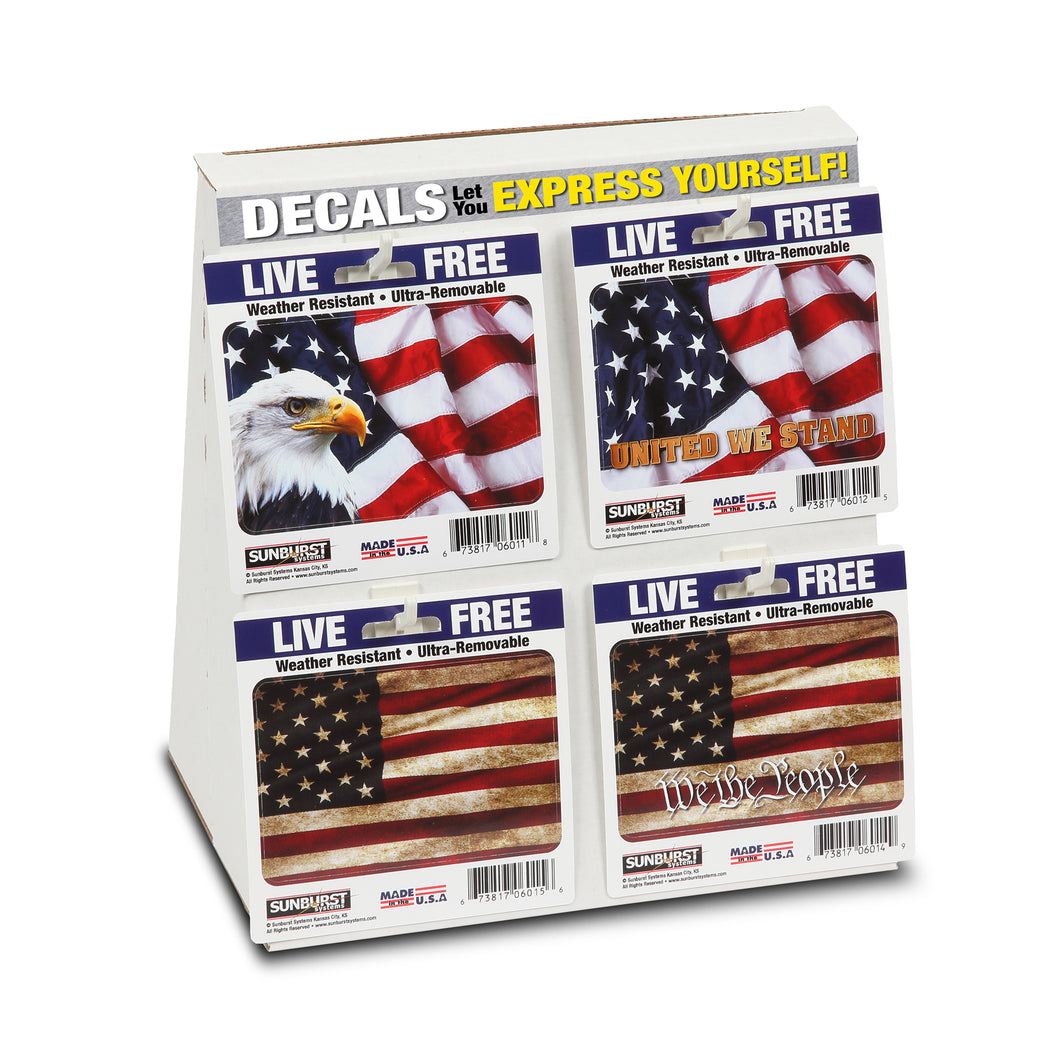 American Flag Decal Shelf Display