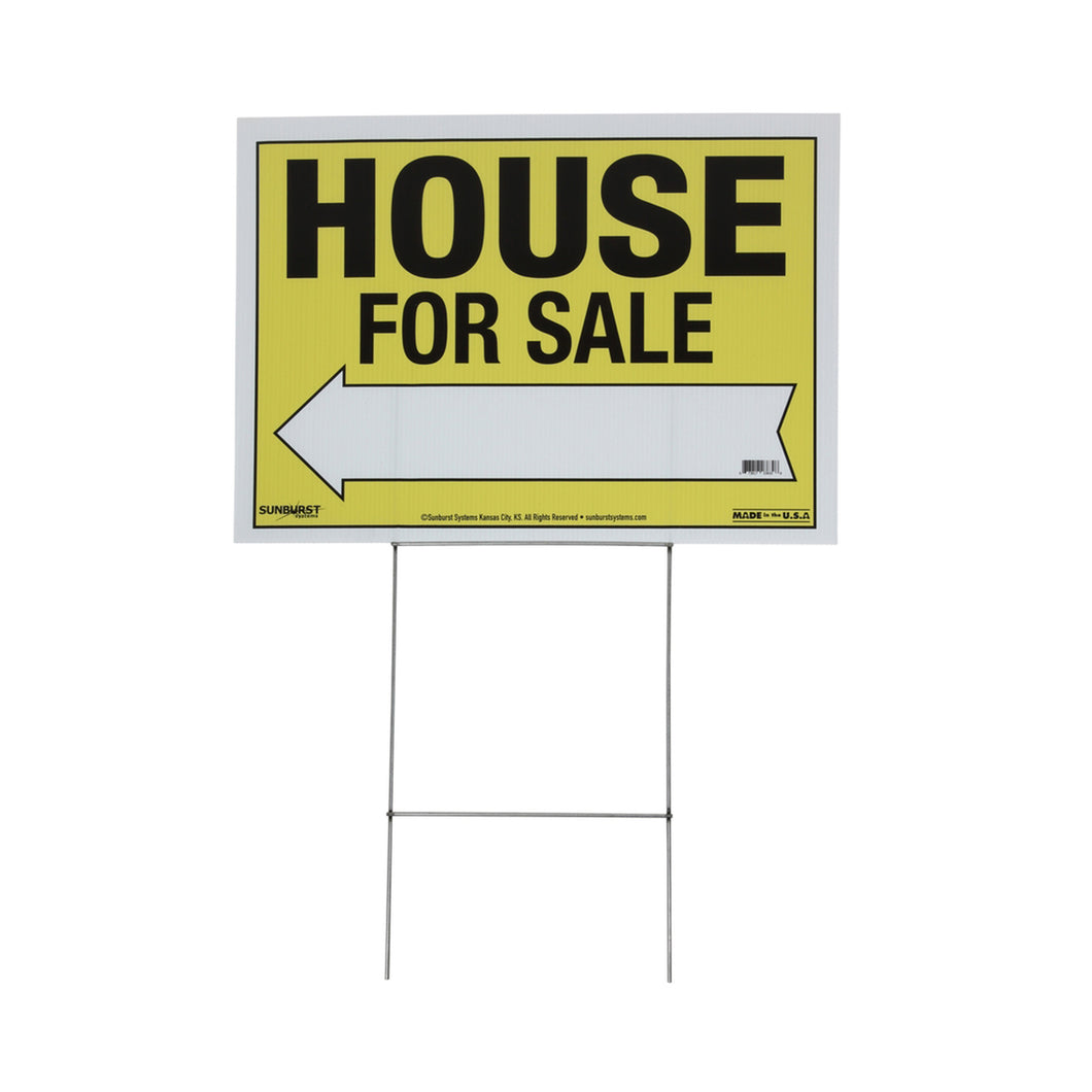 "22"" x 32"" Corr Plastic House For Sale Sign with Stakes"