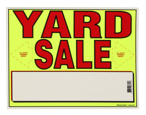 Neon Yard Sale Sign with bold red lettering.  Yard Sale Kit