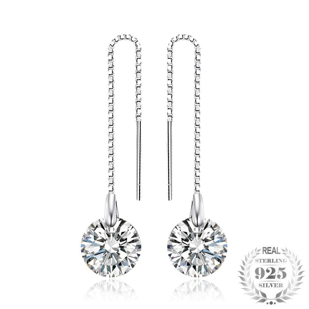 Round Zircon Drop Earrings 925 Sterling Silver - Everlyfave