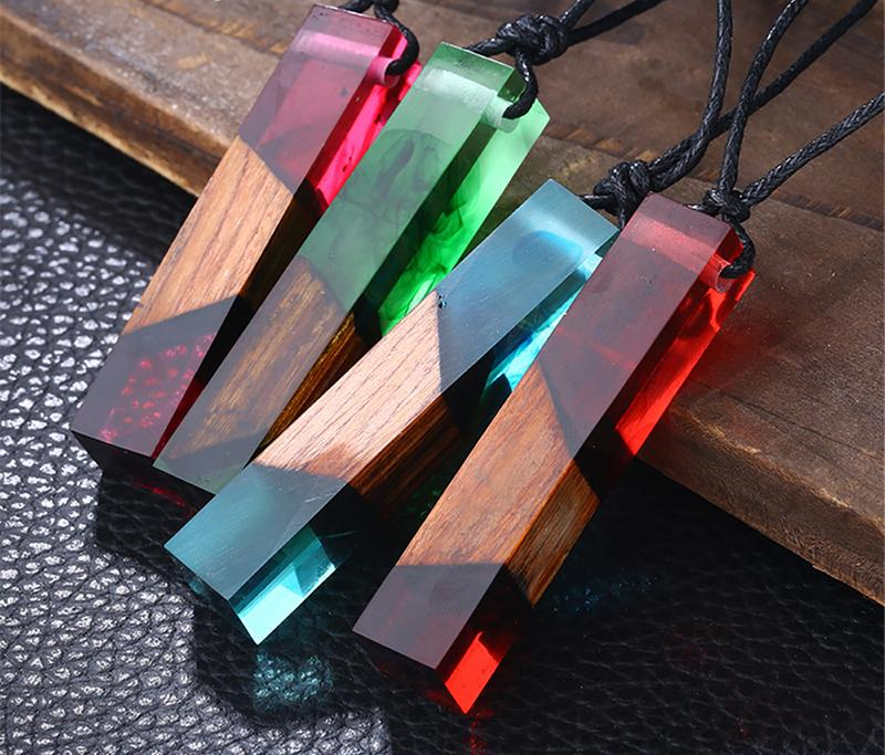 Wood Resin Rectangle Short Necklace - Everlyfave