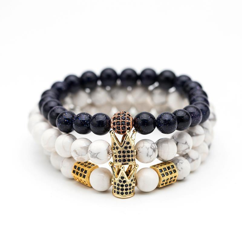 Black & White Crystal Crown Natural Stone Bead Bracelets - Everlyfave