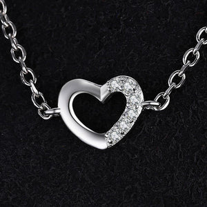 Heart Cubic Zirconia Bracelet 925 Sterling Silver - Everlyfave