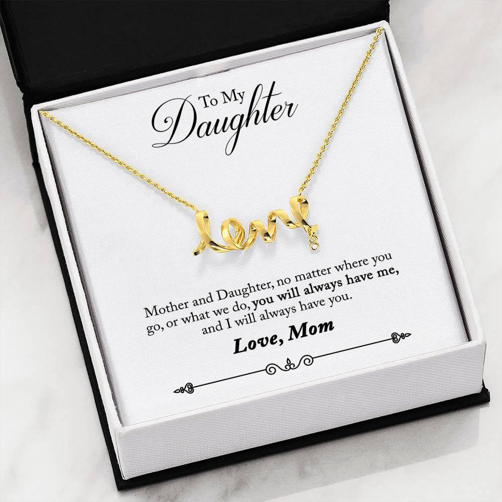 "To My Daughter ""Mother And Daughter"" Scripted Love Necklace - Everlyfave"