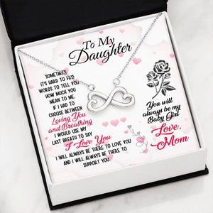 "To My Daughter ""Loving You"" Infinity Hearts Necklace - Everlyfave"