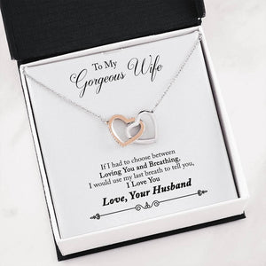 "To My Gorgeous Wife ""Loving You"" Interlocking Hearts Necklace - Everlyfave"