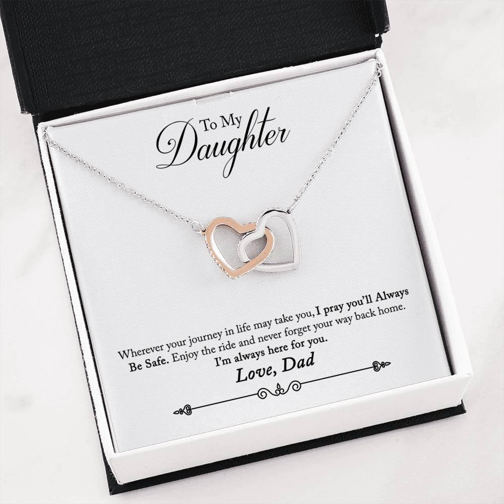 "To My Daughter ""Way Back Home"" Interlocking Hearts Necklace (From Dad) - Everlyfave"