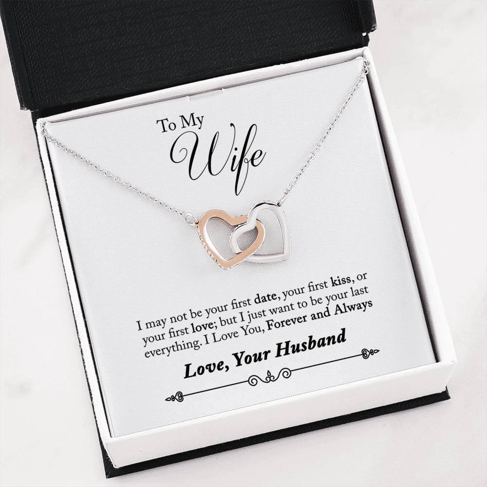 "To My Wife ""Last Everything"" Interlocking Hearts Necklace - Everlyfave"