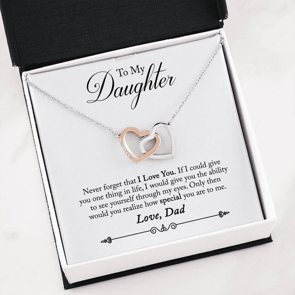 "To My Daughter ""One Thing"" Interlocking Hearts Necklace (From Dad) - Everlyfave"