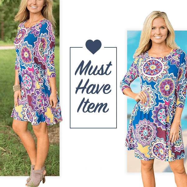 Floral Tunic Dress With Pockets - Imoost