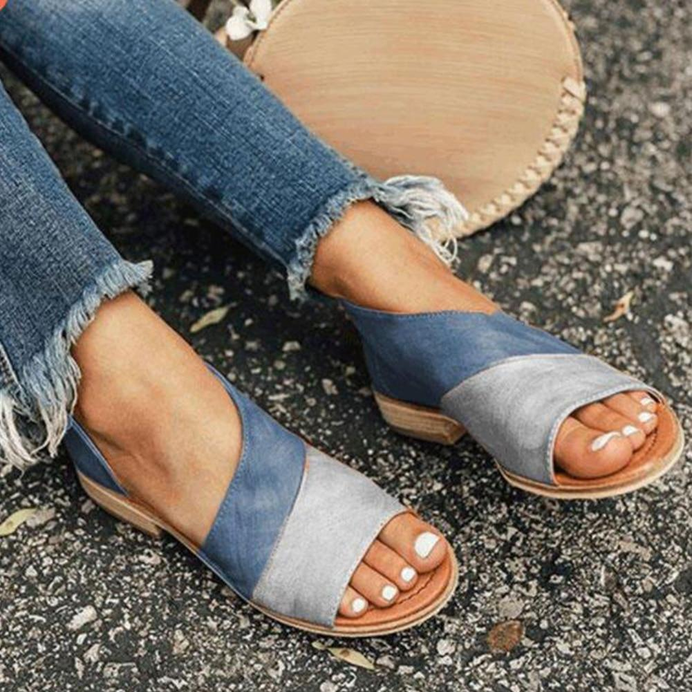 Women Daily Low Heel Panel Sandals - Everlyfave