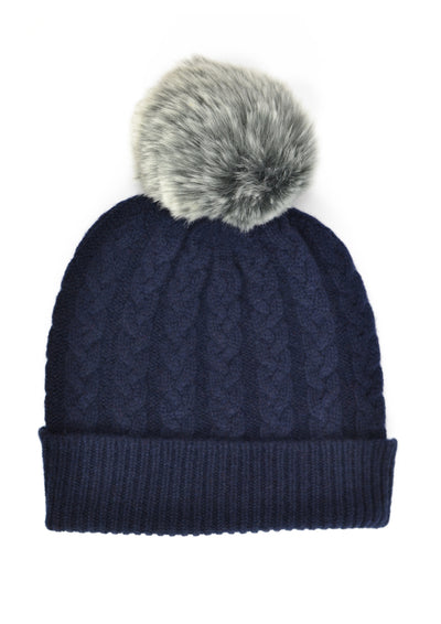 William Lockie Ladies Cashmere Cable Hat with Faux Fur Pom Pom