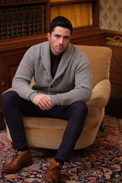 William Lockie Windsor Lambswool Double Shawl Collar Cardigan