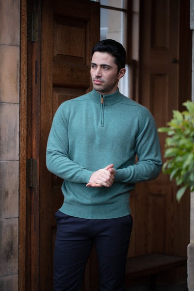 William Lockie Cashmere Pullover Turtle Neck Zip